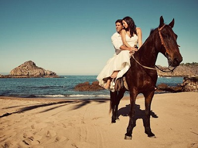 couple Horseback riding